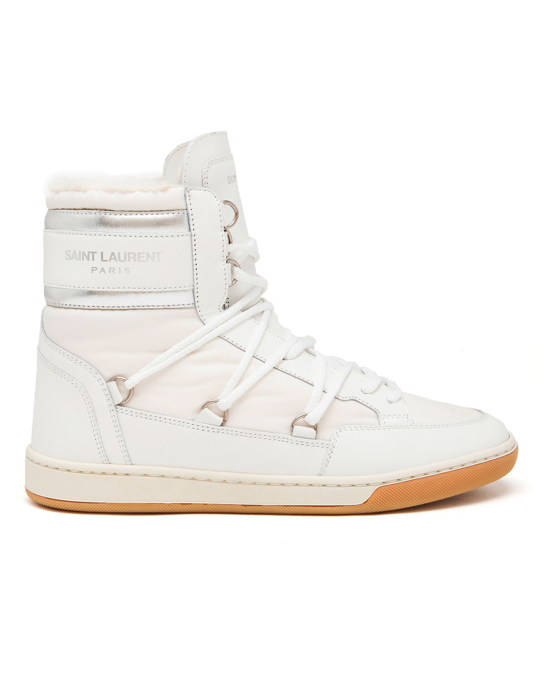 laurent shearling snow boots in white lyst