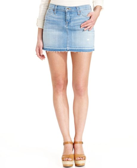 lucky brand denim mini skirt in blue permian lyst