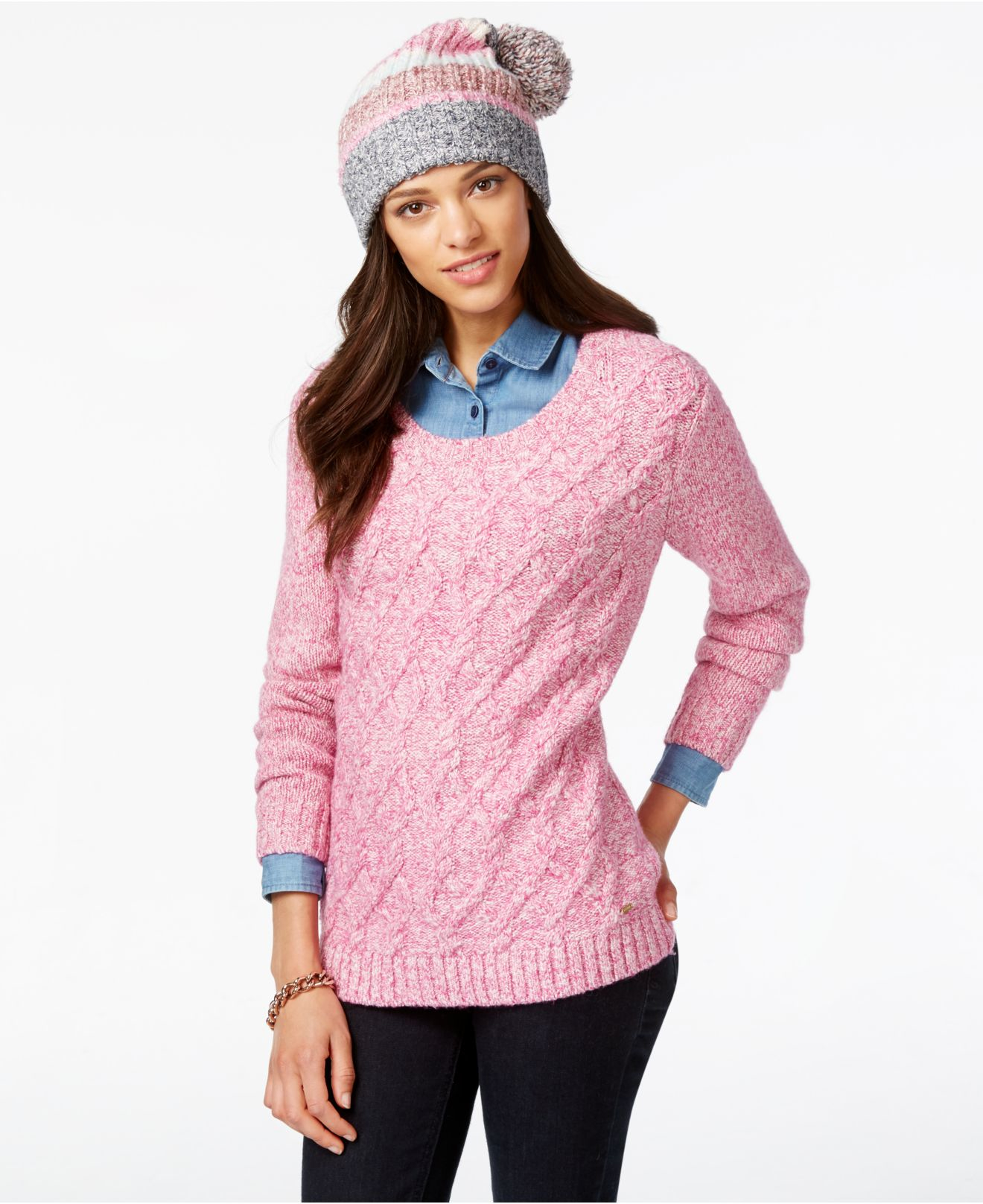 8959403ab56d Lyst - Tommy Hilfiger Cable-knit Sweater   Pom-pom Hat Gift Set in Pink