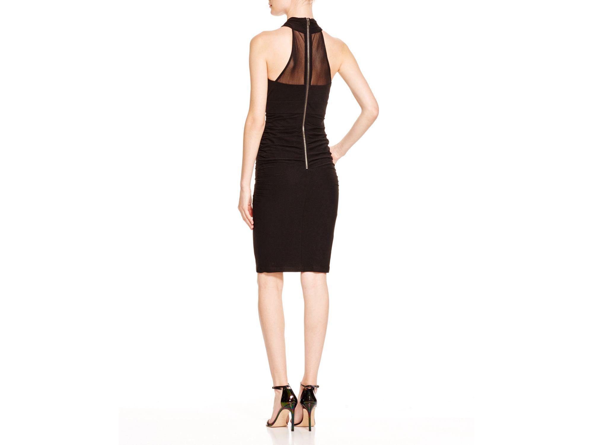fb7d0c6a3f6d Lyst - Bardot Mesh-paneled Faux Wrap Dress in Black