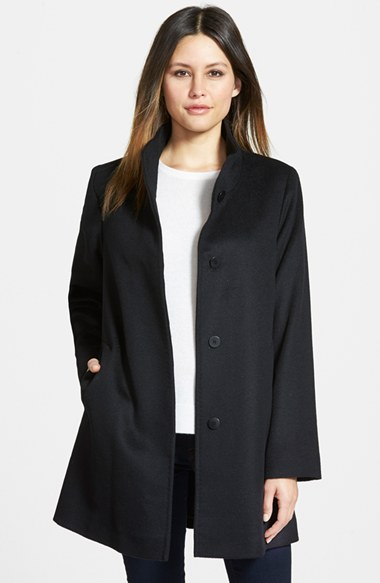Fleurette Piacenza Wool Blend Stand Collar Car Coat in Black | Lyst