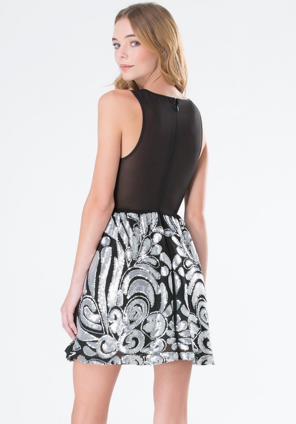 Bebe Melina Sequin & Mesh Dress in Black | Lyst