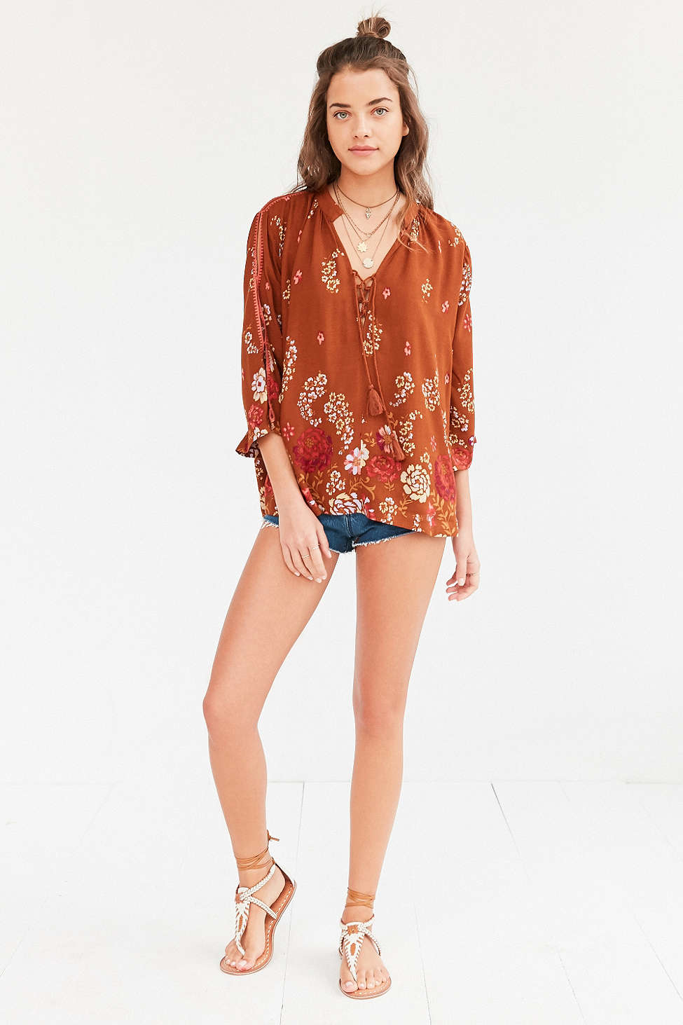 Lyst - Ecote Lily Lace-up Collar Blouse in Orange ac460894e