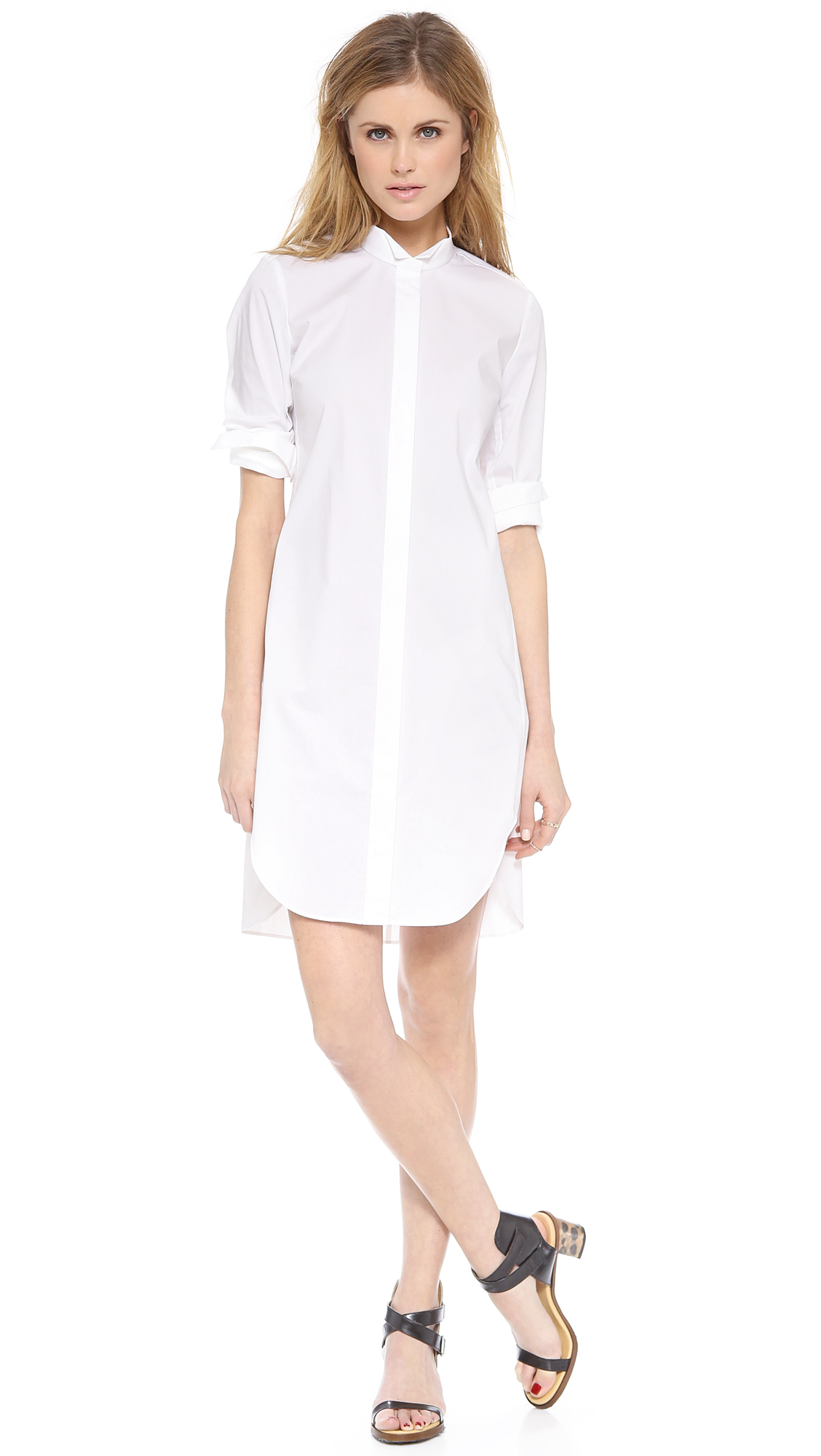 Lyst Rebecca Taylor Long Sleeve Shirtdress In White