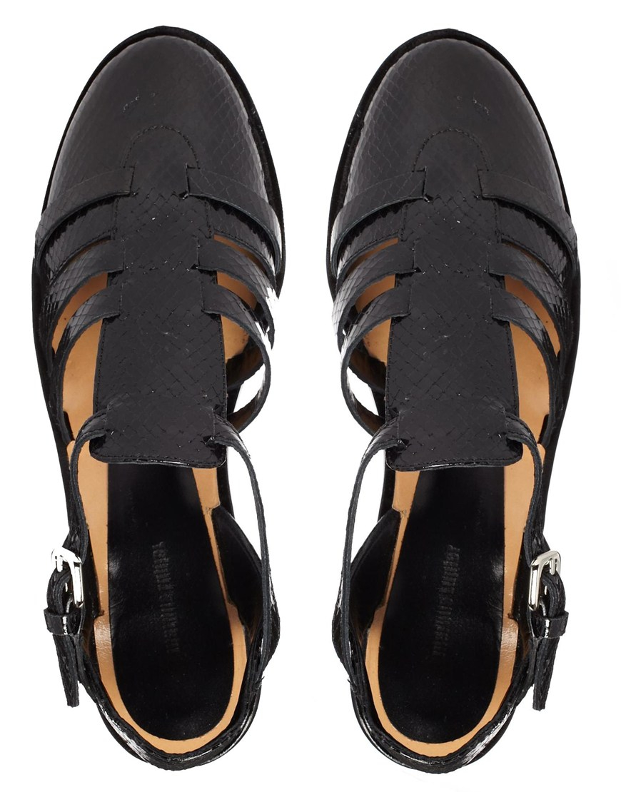 d85bddf001 Markus Lupfer Printed Leather Cut Out Flat Shoes in Black - Lyst