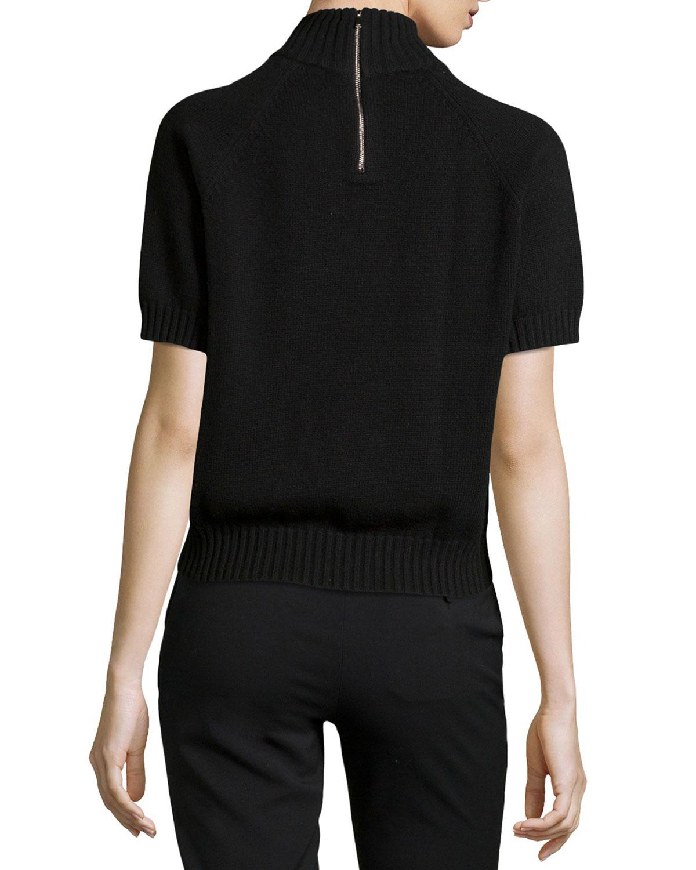 Lyst Michael Kors Mock Neck Short Sleeve Sweater In Black
