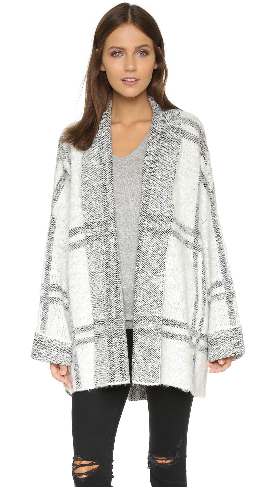 Free people windowpane cardigan jacket ivory combo in gray lyst