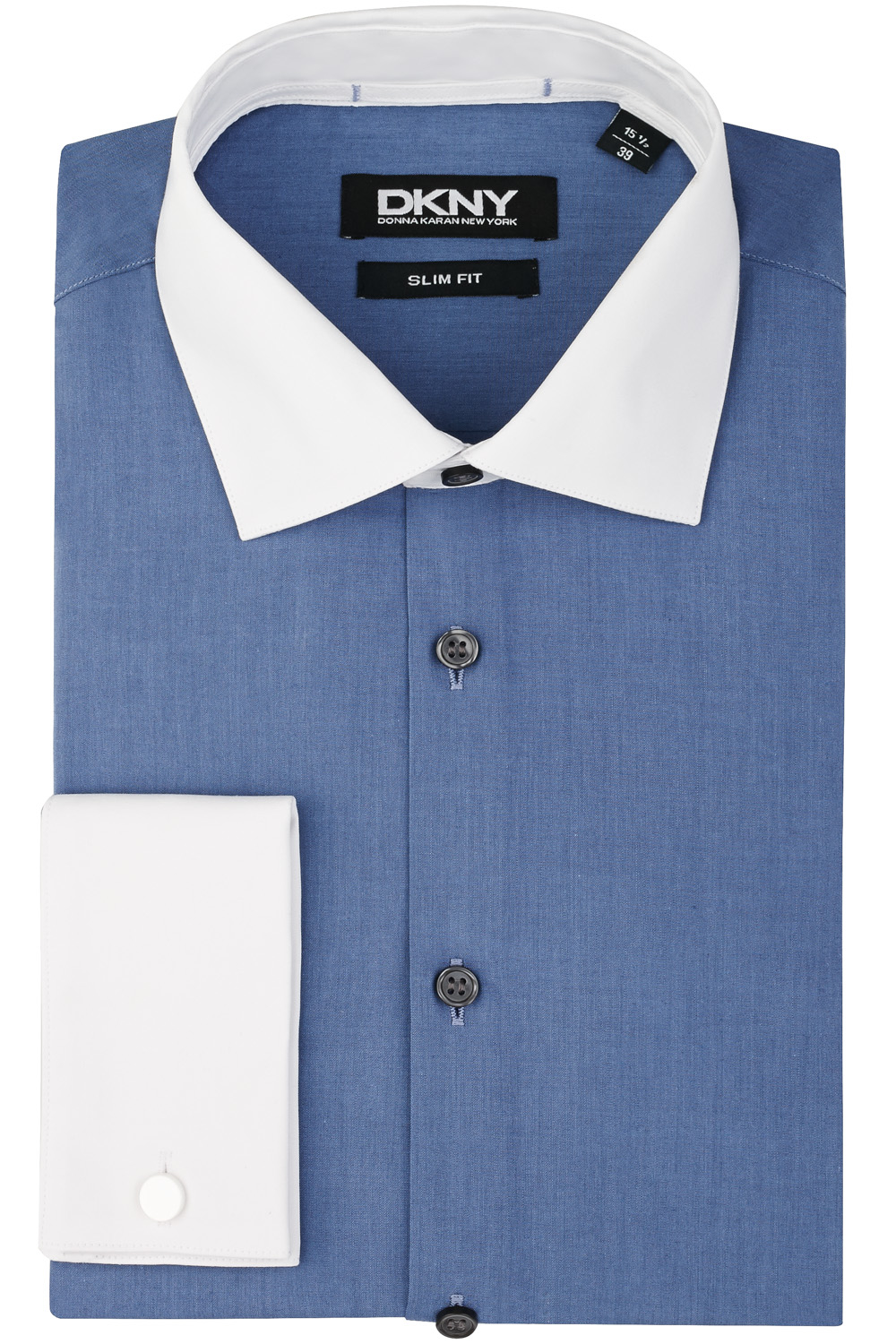 Dkny slim fit blue double cuff white contrast collar and for Mens dress shirts with contrasting collars and cuffs