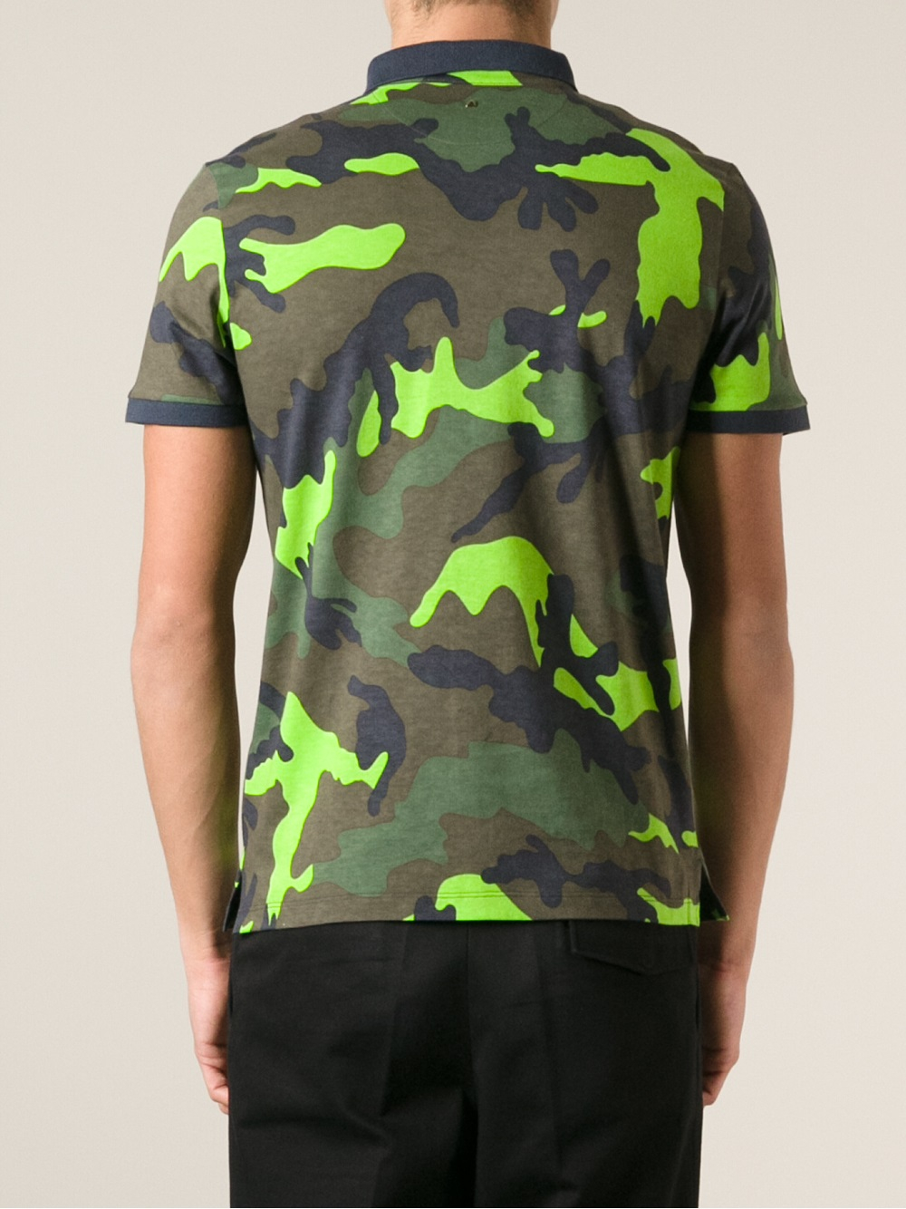 Lyst Valentino Camouflage Print Polo Shirt In Green For Men