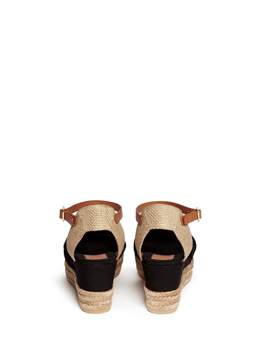 a5a62792802a Tory Burch Knotted Bow Canvas Espadrille Platform Sandals in Black ...