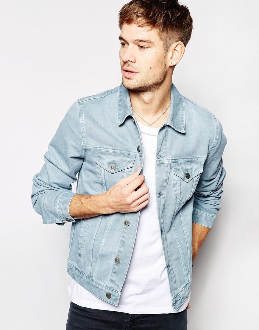 Asos Denim Jacket In Slim Fit In Pastel Blue in Blue for Men | Lyst