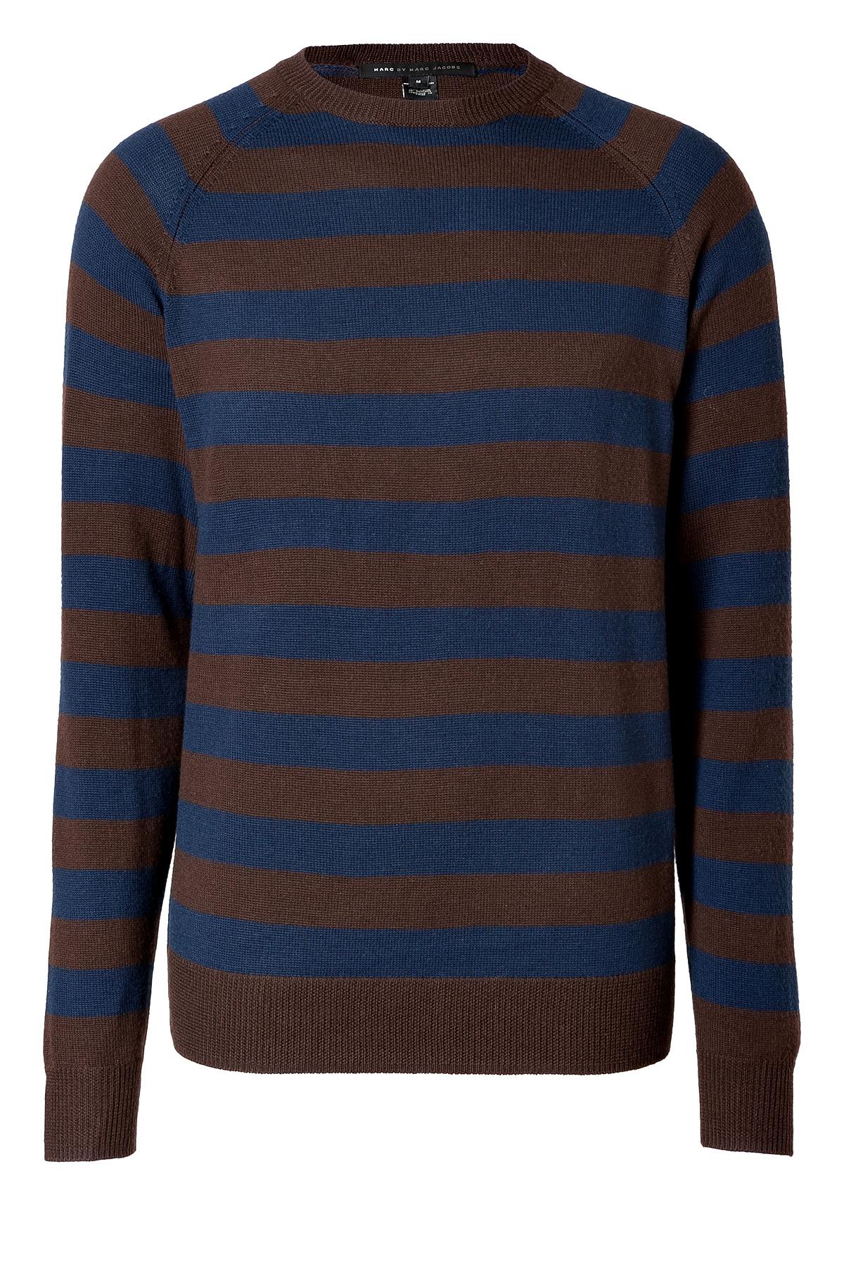 lyst marc by marc jacobs wool stripe pullover in darkest brown multi in brown for men. Black Bedroom Furniture Sets. Home Design Ideas