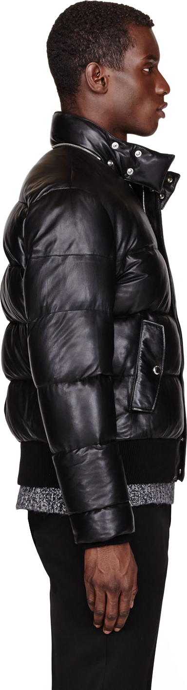 Givenchy Black Leather And Down Quilted Jacket In Black