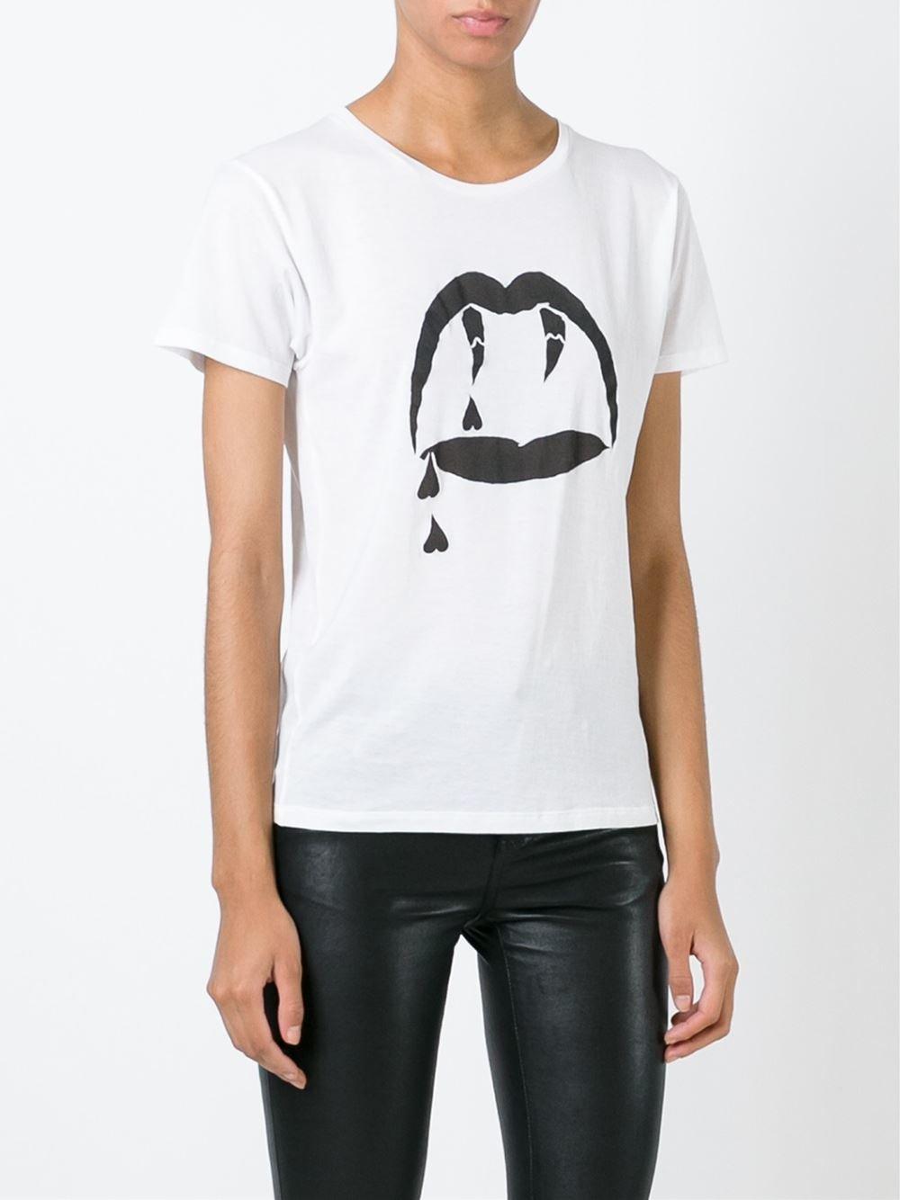 Saint laurent fangs print t shirt in white lyst for Saint laurent t shirt