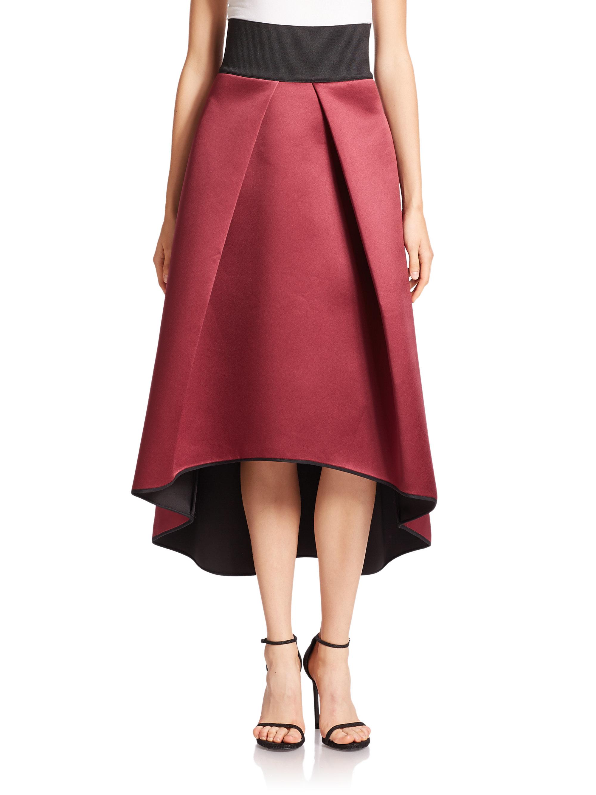 dae042c49b0f0f MILLY Duchess Satin Tucked Ball Skirt in Purple - Lyst