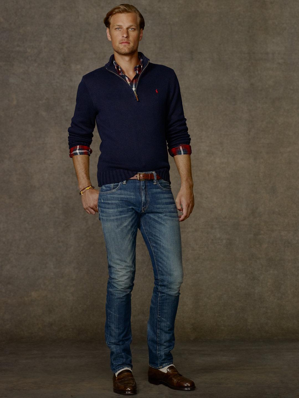 Polo ralph lauren Cotton Half-zip Sweater in Blue for Men | Lyst