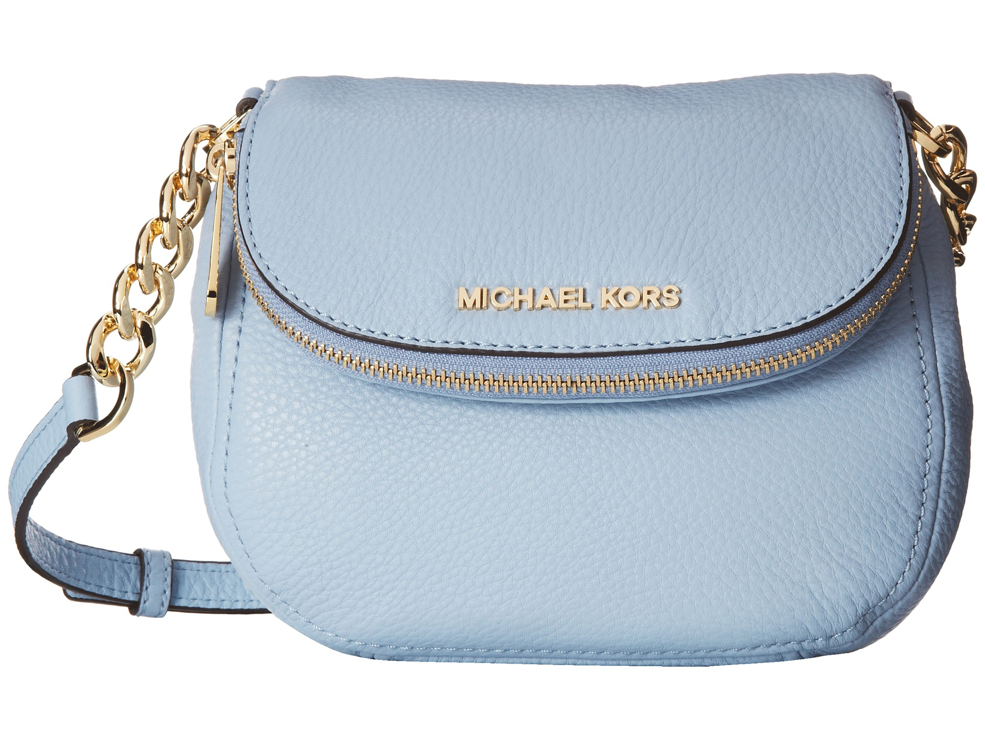 06516efe5b14 ... low price lyst michael michael kors bedford flap crossbody in blue  125c7 ce388
