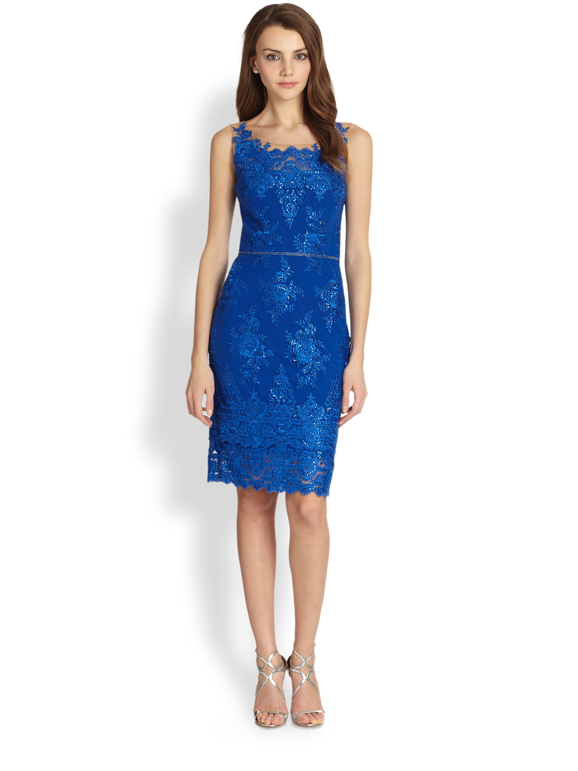 Notte by marchesa Embroidered Lace Cocktail Dress in Blue | Lyst