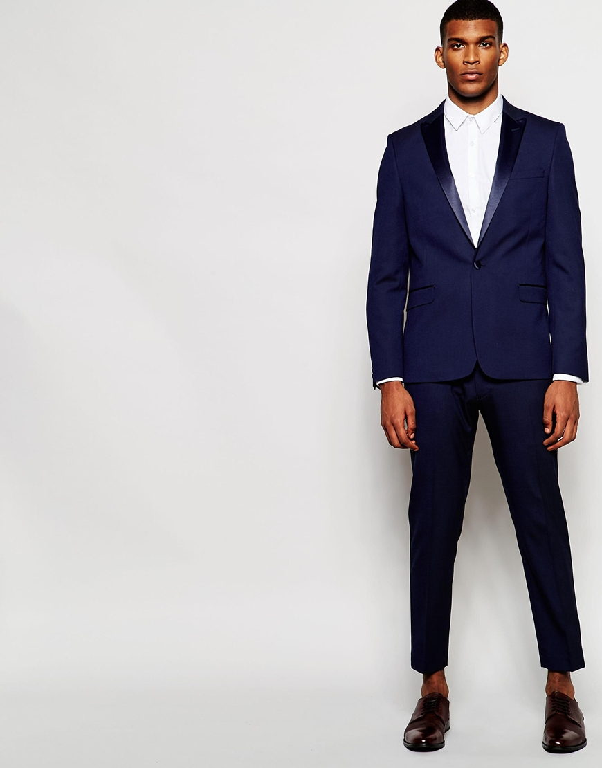 Asos Skinny Tuxedo Suit Trousers With Satin Stripe - Navy in Blue ...