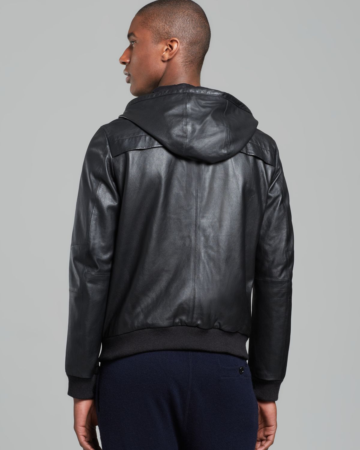 Vince Hooded Leather Jacket in Blue for Men | Lyst
