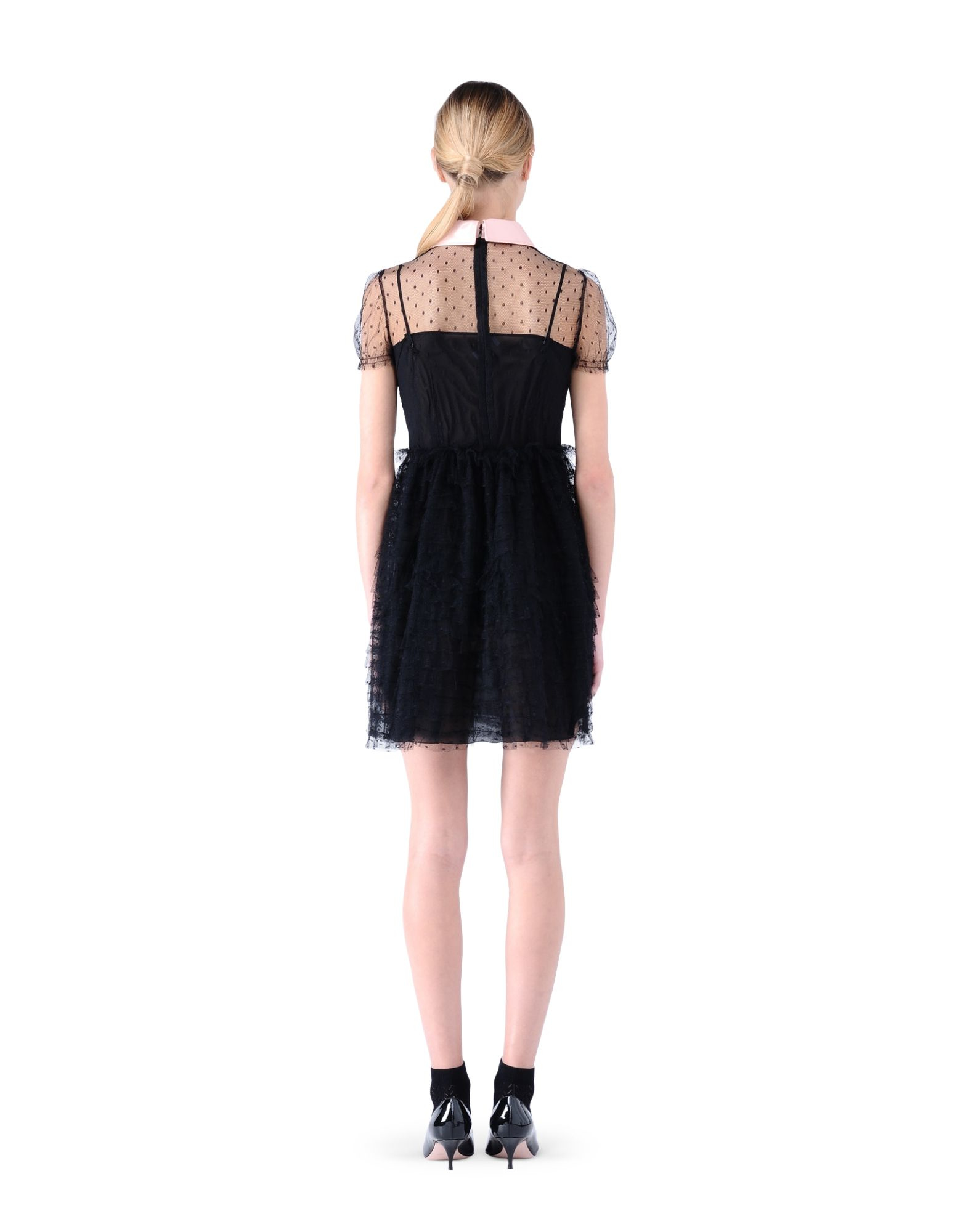 9784534171a Red valentino Strawberry Embroidered Tulle Dress in Black