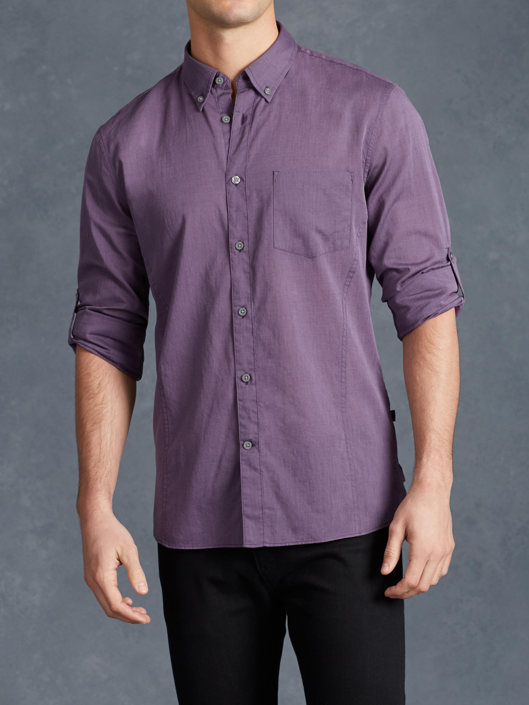 John Varvatos Roll Up Sleeve Shirt In Purple For Men Lyst