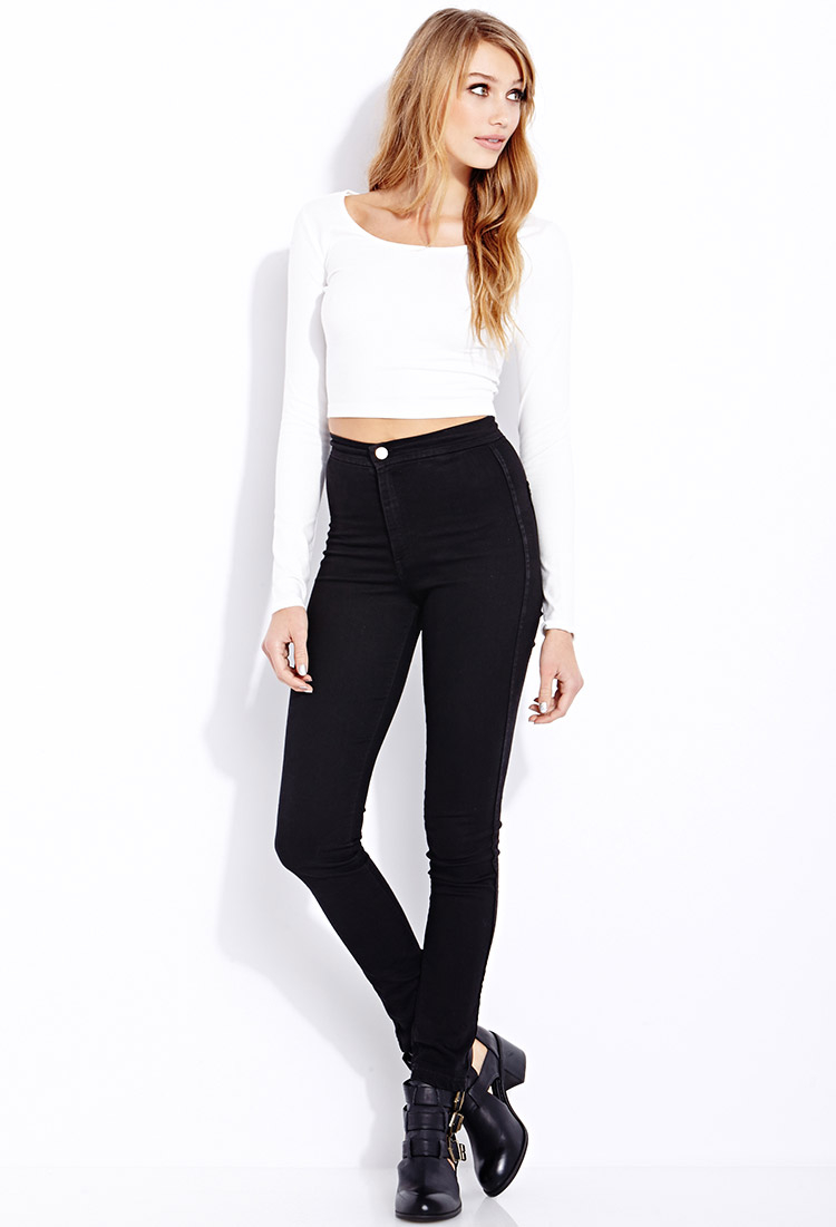 Lyst - Forever 21 Basic Long Sleeve Crop Top in White