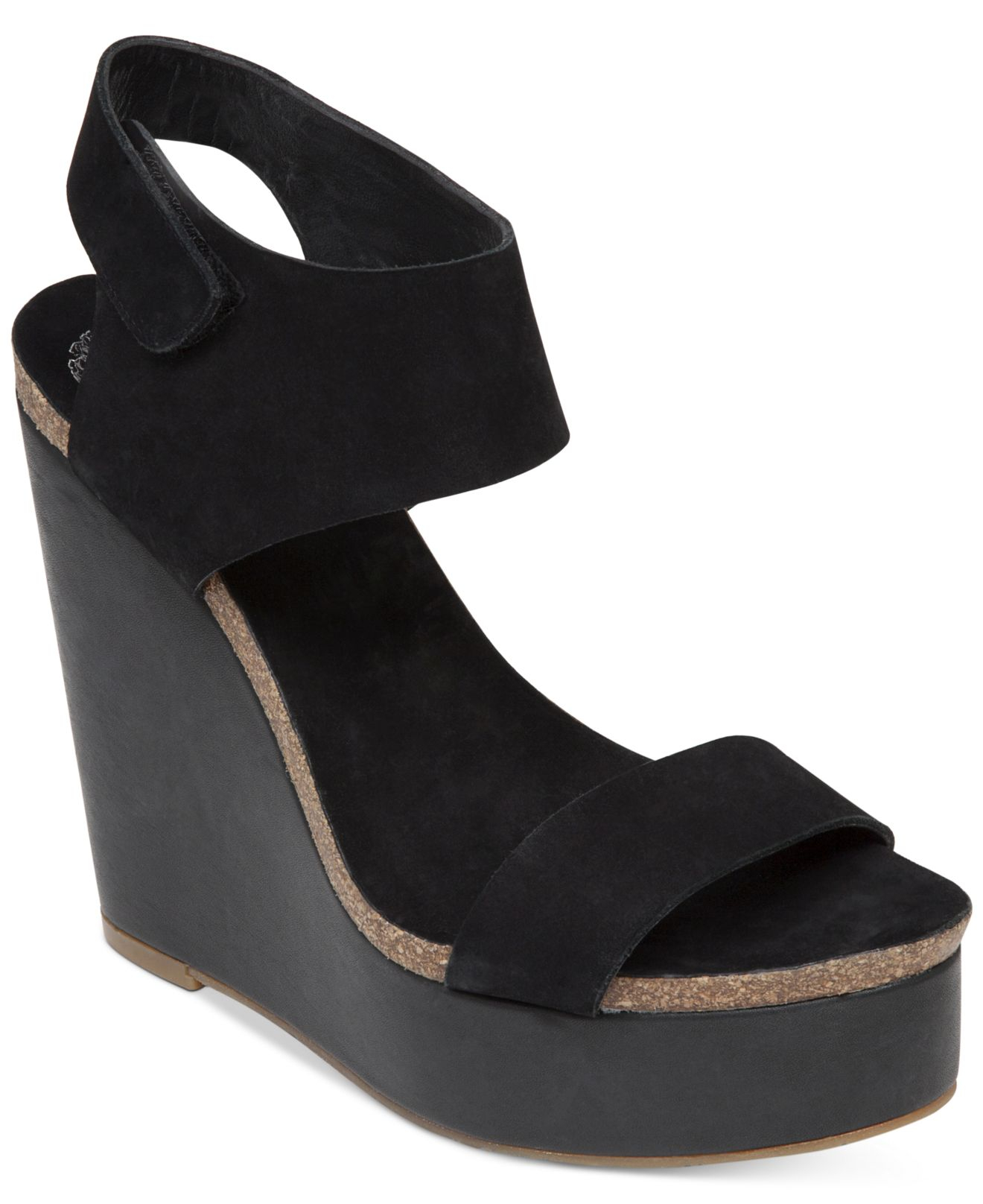 vince camuto kaja platform wedge sandals in black lyst