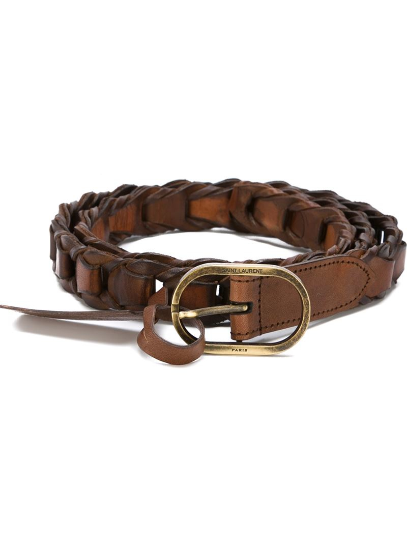 laurent braided belt in brown for lyst