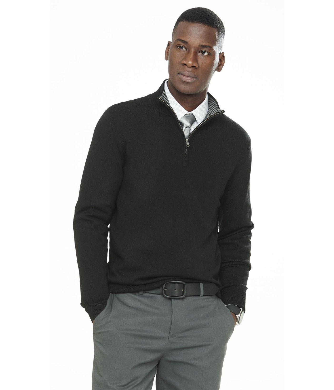 Merino Wool Zip Up Mock Neck Sweater 48