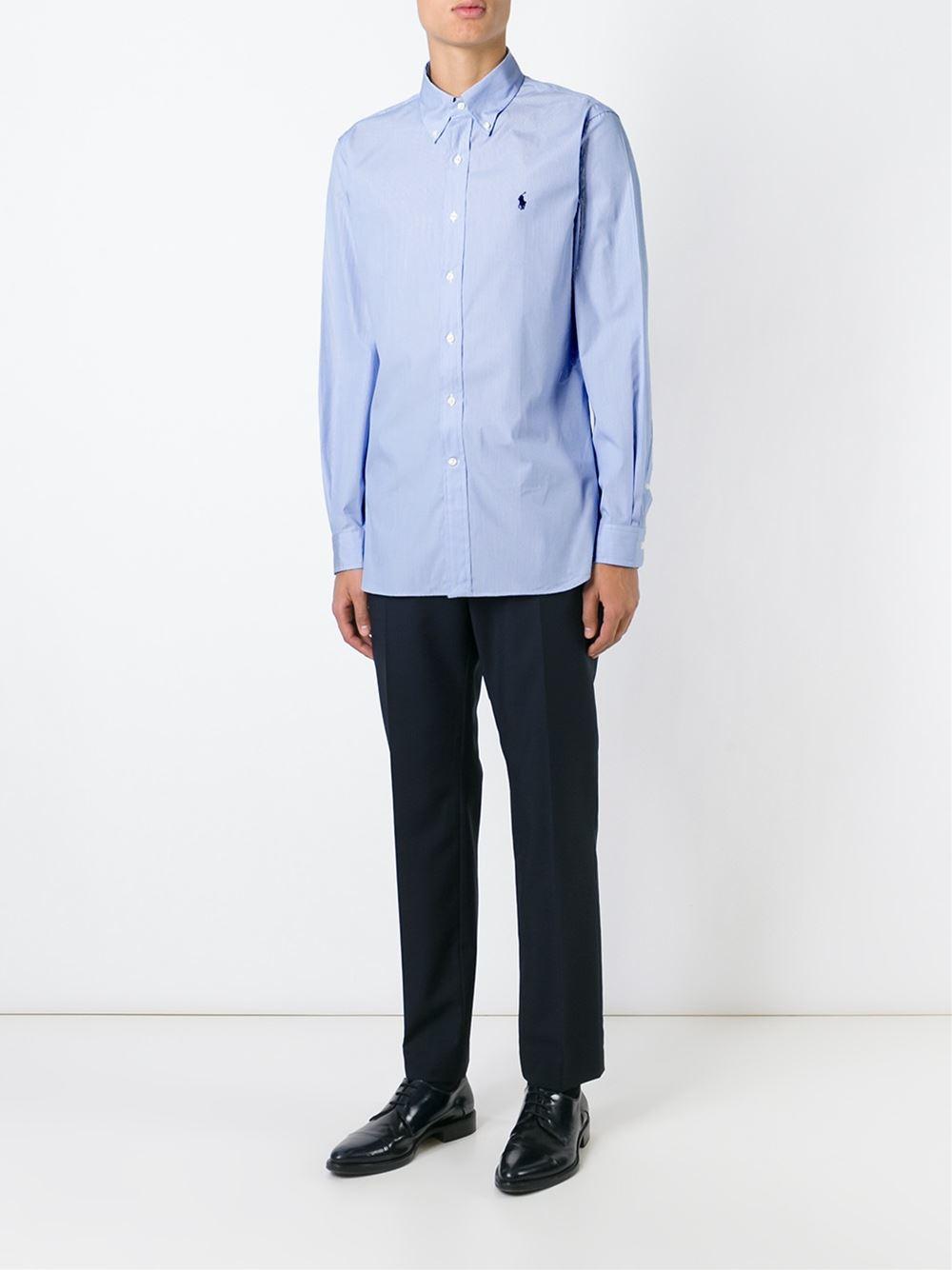 Polo ralph lauren Pinstriped Shirt in Blue for Men