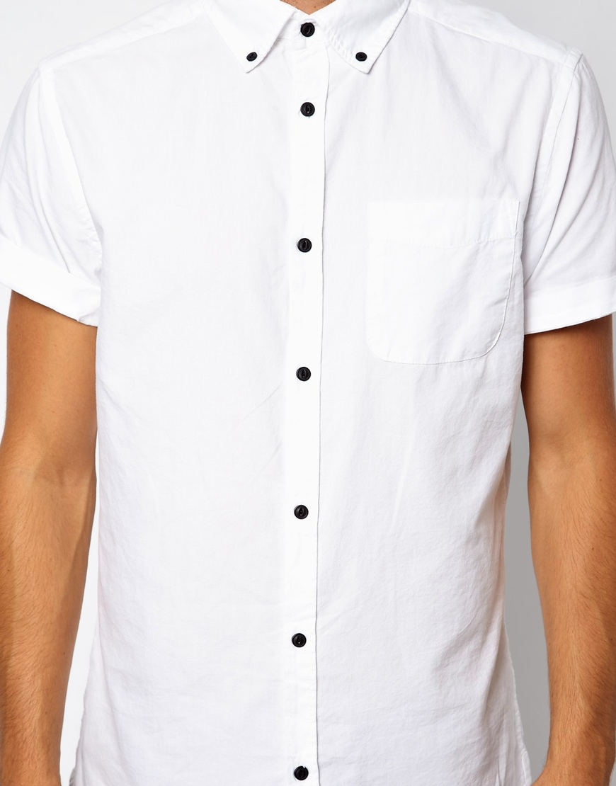 Pull bear poplin shirt in white for men lyst for Bear river workwear shirts