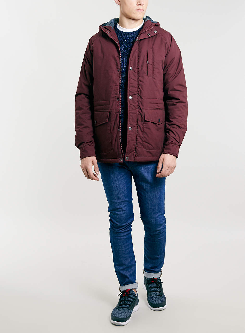 Lac burgundy hooded jacket in red for men lyst