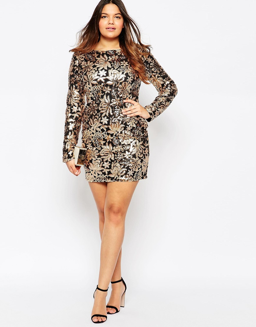 Club L Plus Size Dress In Floral Sequins in Metallic - Lyst