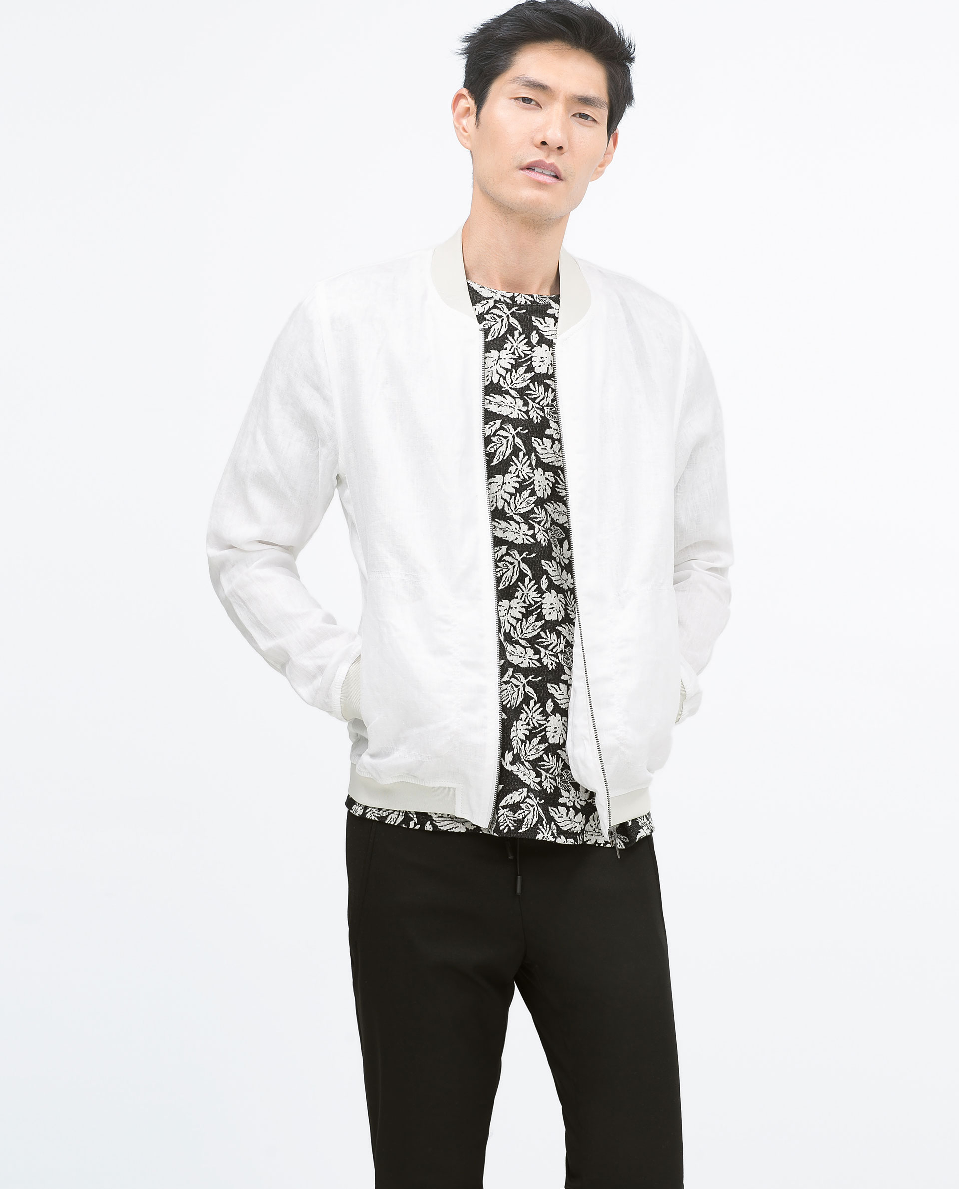 White bomber jacket zara – Modern fashion jacket photo blog