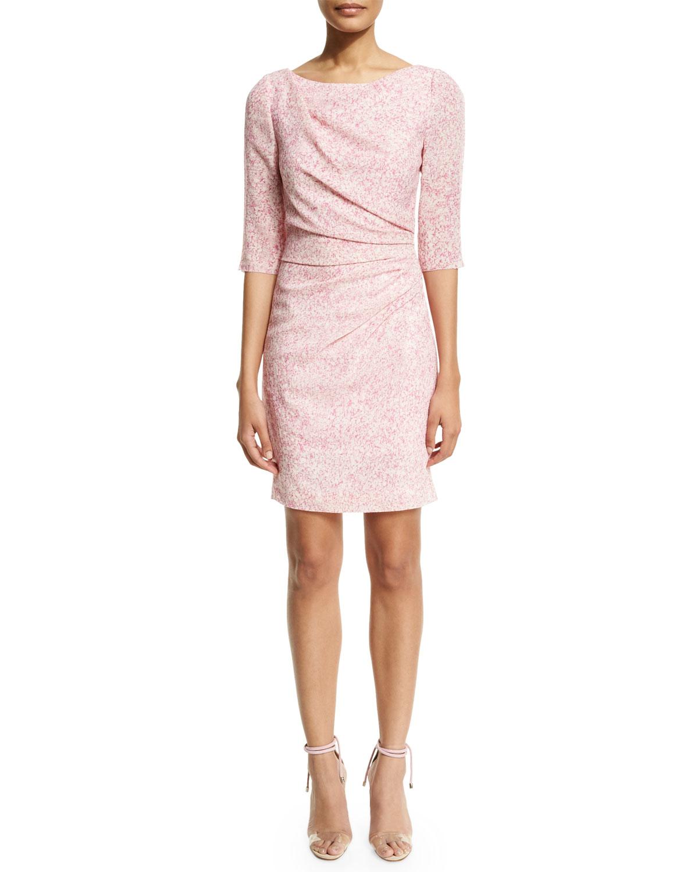 Carolina herrera 3/4-sleeve Gathered Sheath Dress in Pink ...
