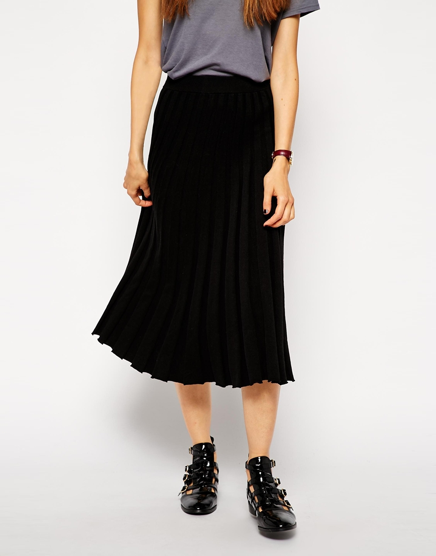asos pleated midi skirt in knit in black lyst