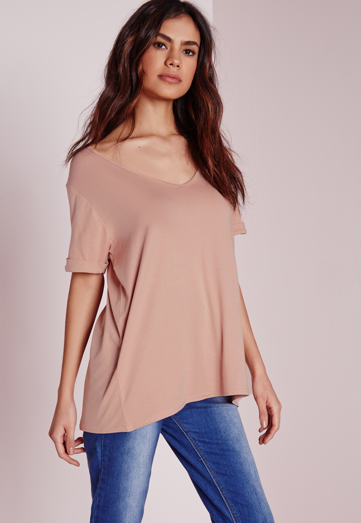 Missguided tall boyfriend v neck t shirt nude in natural for Womens tall v neck t shirts