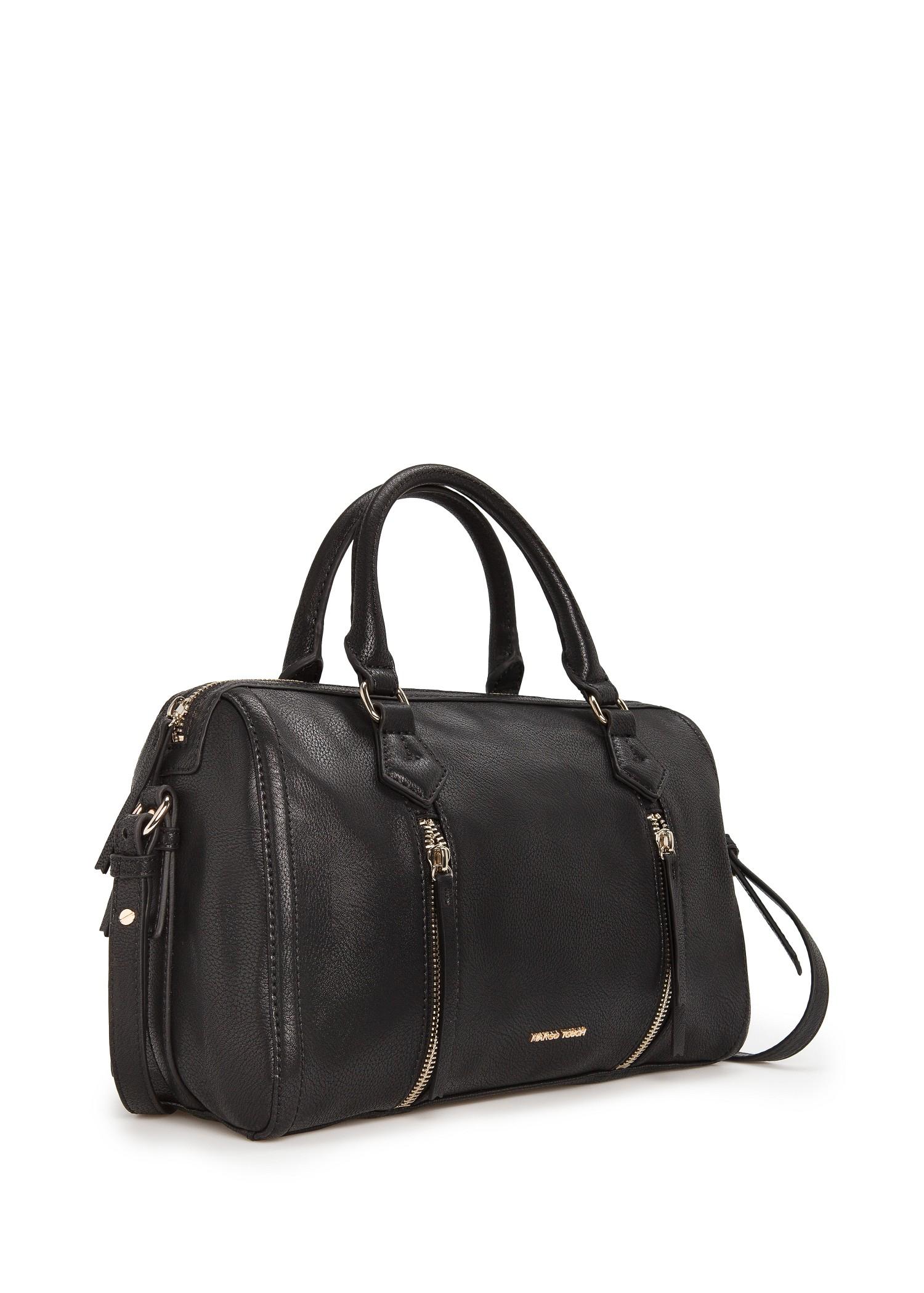 Mango Zip Tote Bag in Black | Lyst