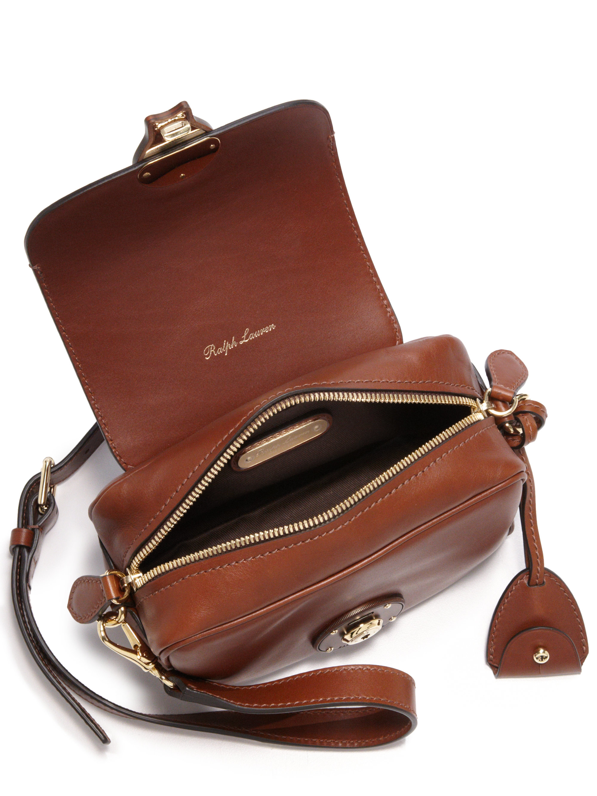 Lyst - Ralph Lauren Ricky Extra-small Leather Zip Crossbody Bag in Brown 4e41be6d72ec3