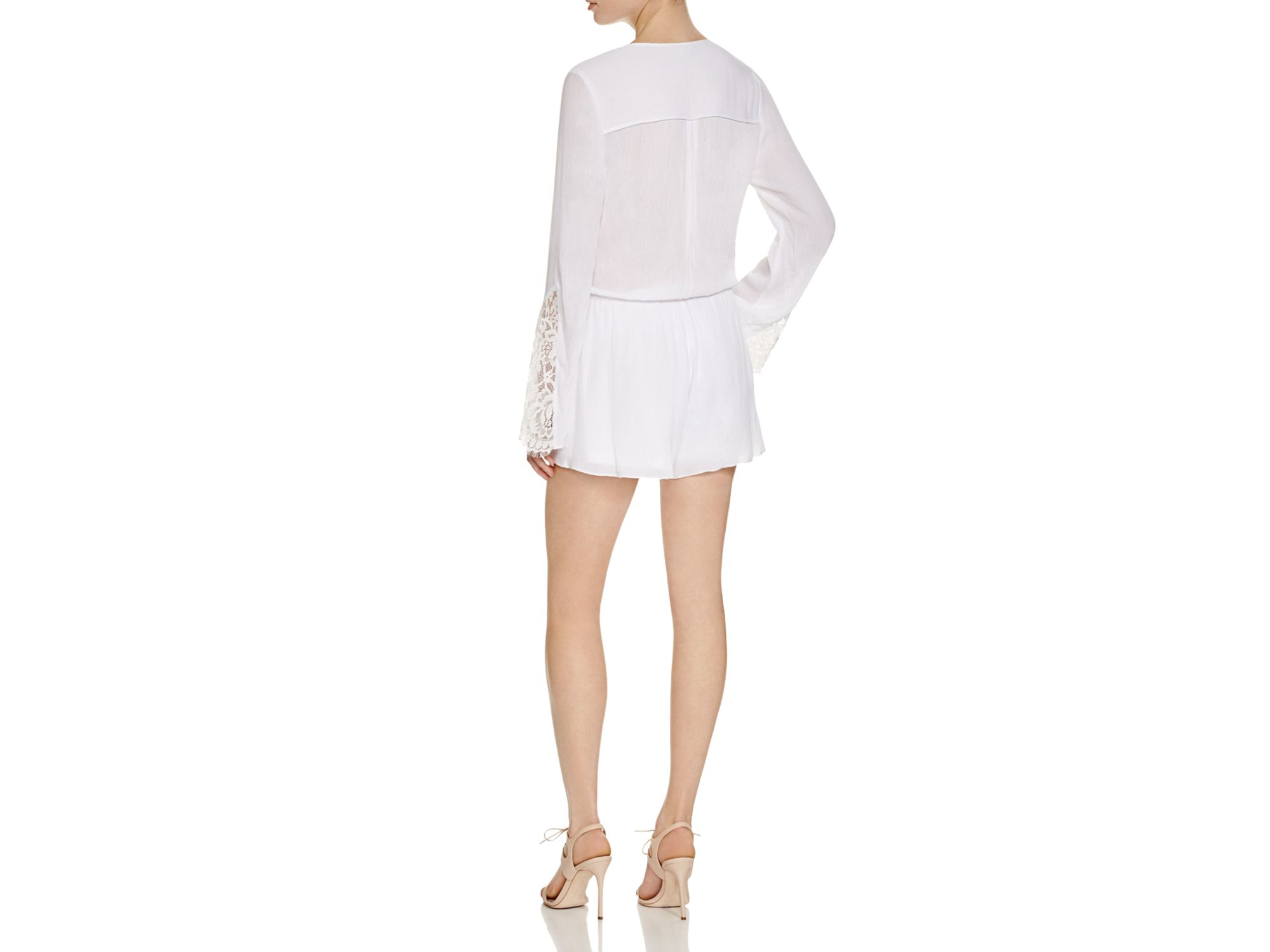 b31c979a600 Guess Angel Lace Mix Romper in White - Lyst