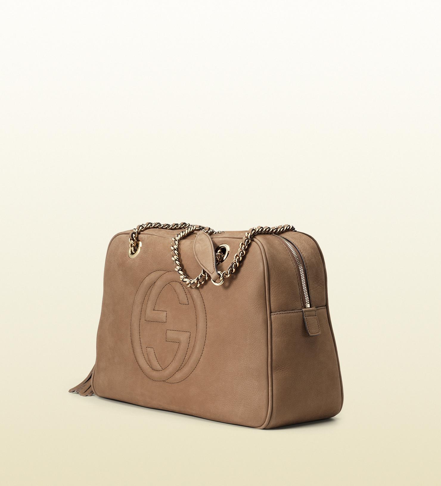 5cdd9c07b978 Gucci Soho Nubuck Leather Chain Shoulder Bag in Brown - Lyst
