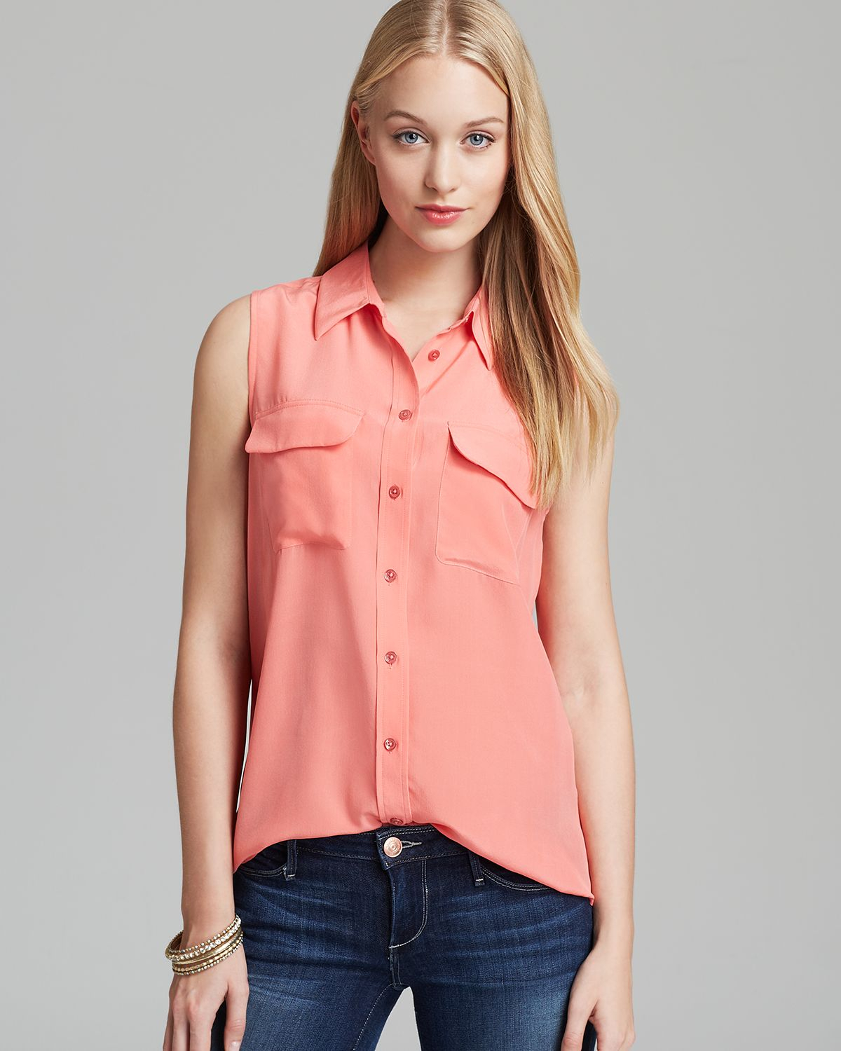 0498388aa23bf4 Lyst - Equipment Blouse Sleeveless Slim Signature in Pink