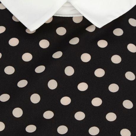 River Island Navy Polka Dot Contrast Collar Top