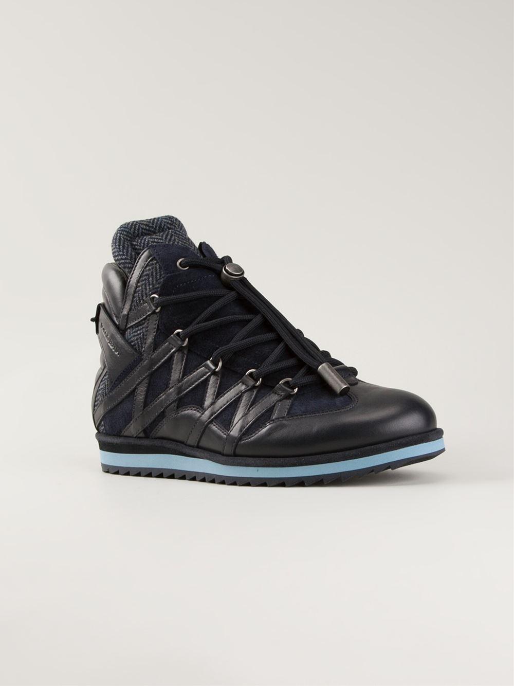 dolce gabbana panelled hi top sneakers in blue for men. Black Bedroom Furniture Sets. Home Design Ideas