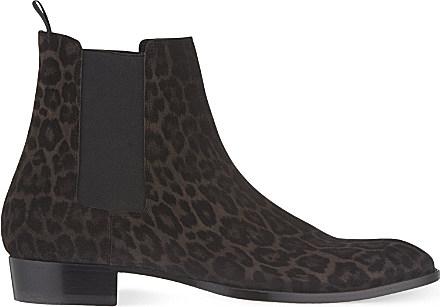 f066c0103a3e9 Saint Laurent Eddie Leopard Print Chelsea Boots - For Men in Gray ...