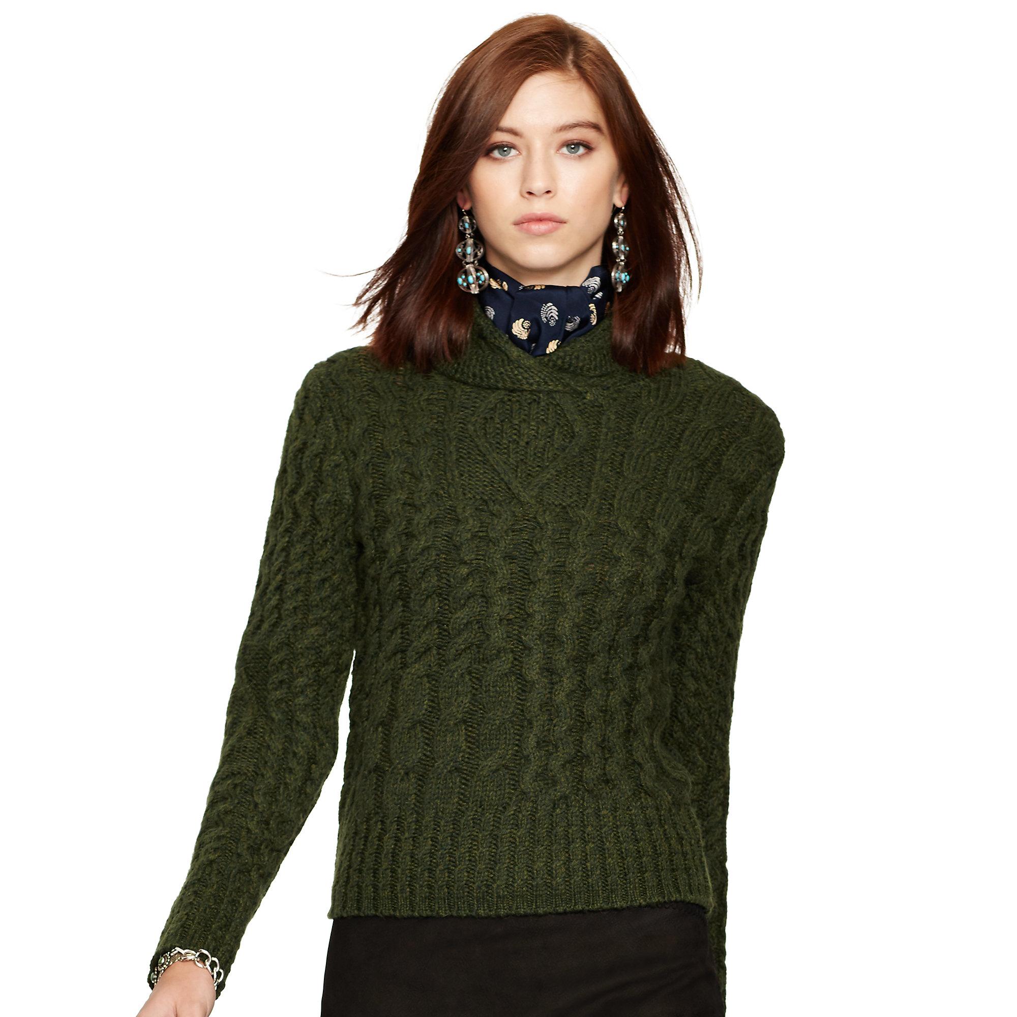 fd5d2a830 ... australia lyst polo ralph lauren wool alpaca cabled sweater in green  d581b b5d95