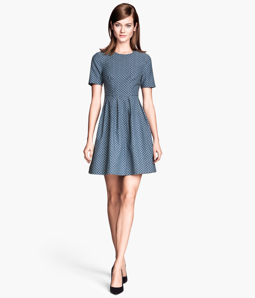 H&m Jacquardweave Dress Lyst