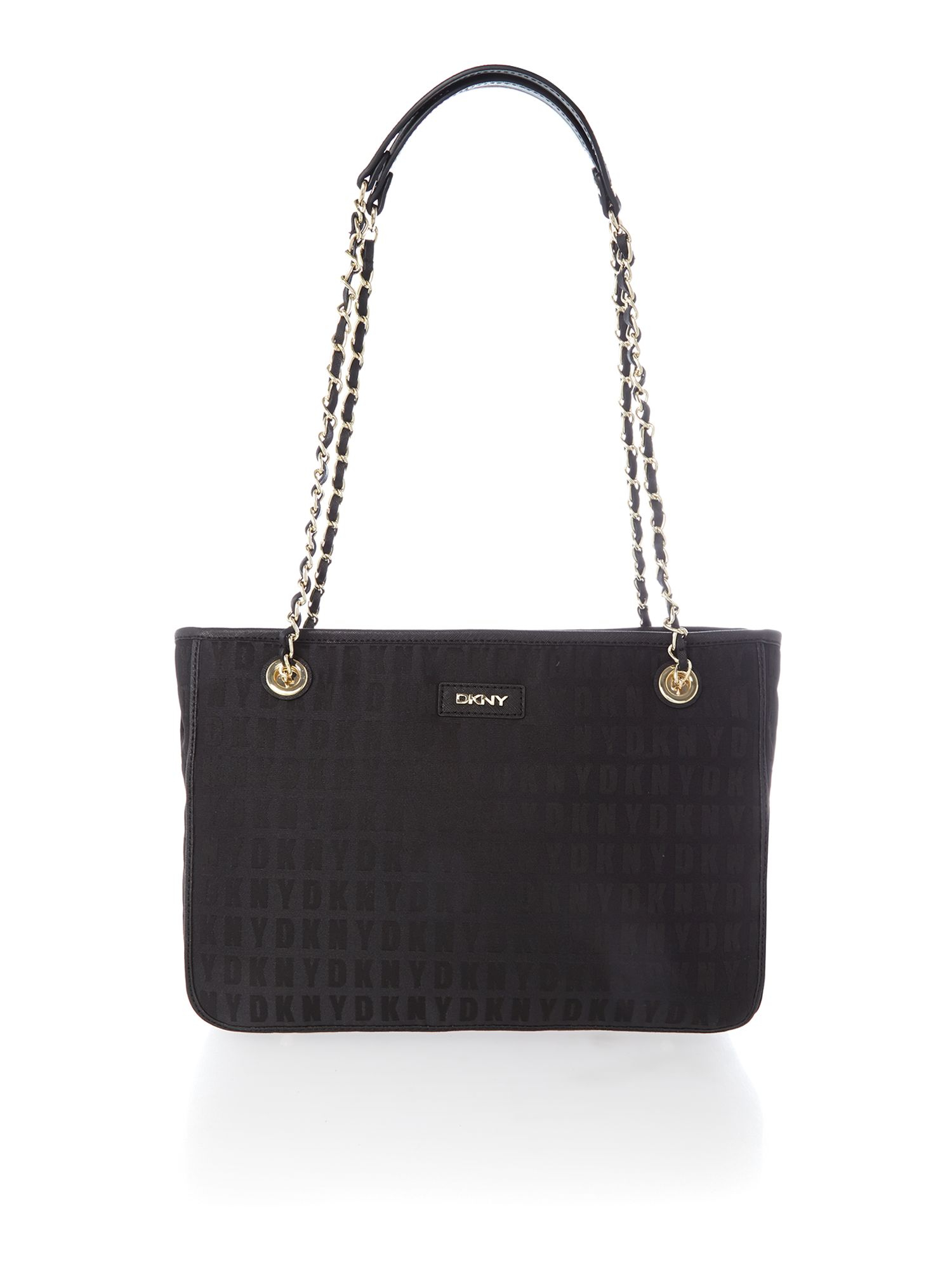 dkny black chain tote bag in black lyst
