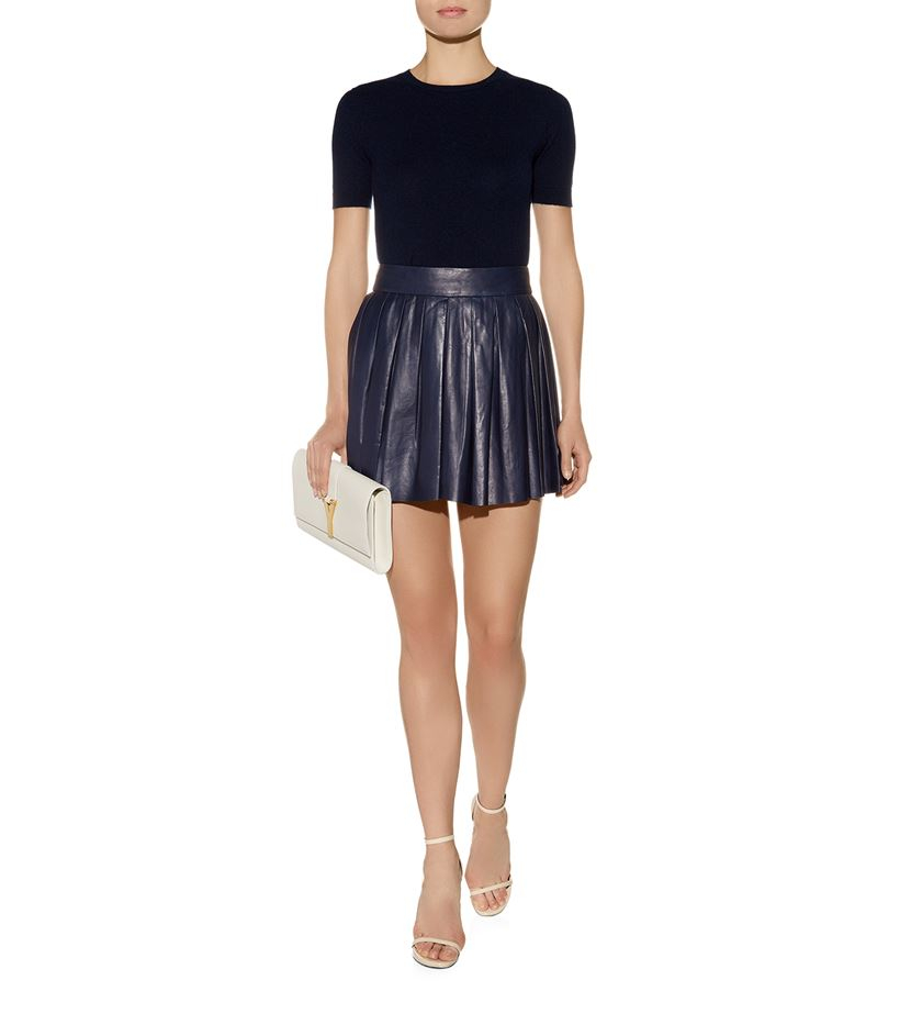 box pleat leather skirt in blue lyst